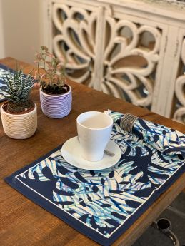 Dark Blue - Set of 6 Placemats and 6 Napkins