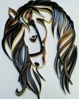 Quilled horse head