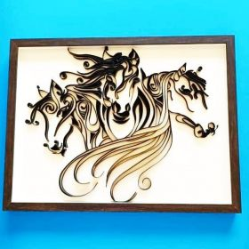 Black horses made with paper art called Quilling