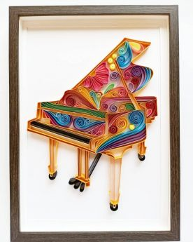 Beautiful colorful piano made with paper art called Quilling