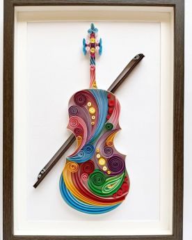 Colorful Quilled Violin