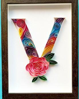 Quilled floral Letter V