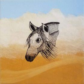 Arabian Horse in the Desert Storm - Print