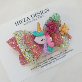 Unicorn and Flower Hair Bow