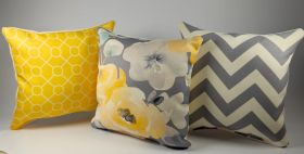 Yellow and Gray - Set of 3 Cushion Covers