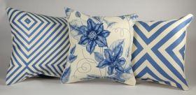 Light Blue Flowers - Set of 3 Cushion Covers