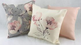Pink, White and Gray - Set of 3 Cushion Covers