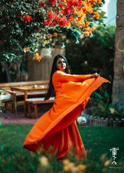 Sunset Orange Tiered  Long Dress
