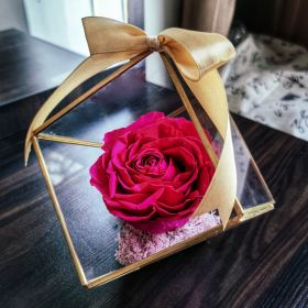 Big forever rose in the square glass container