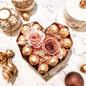 'Diamond heart' infinite rose gift box with chocolates