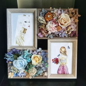 'Garden in the house' duel photo frame with eternal flowers