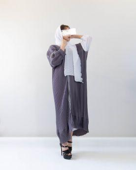 Grey Abaya with Ribbon (Look14)