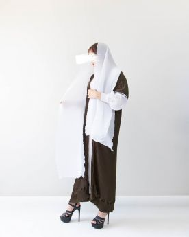 Khaki Ribbon Abaya (Look15)