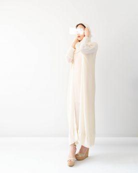Cream Long Cuff Abaya (Look4)