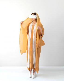 Yellow Ochre Lace Abaya