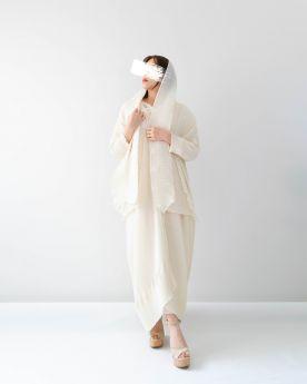 Cream Short Cuff Abaya (Look5)