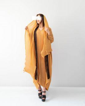 Yellow Ochre Black Lace Abaya