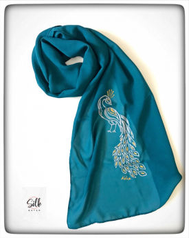 Turquoise Peacock Neck Scarf