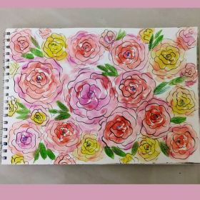 لوحة ملهمة صناعة يدوية - زهور وردية