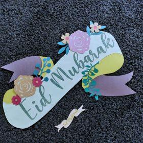 Eid Mubarak Banner and Cake Topper