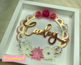 Personalized Name Floral Shadow Box