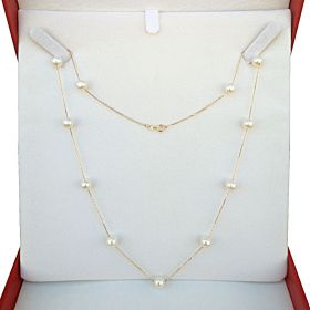 Intervening Pearl Necklace 18K Gold