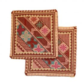Pair of handmade Tea coasters with cross stitched designs