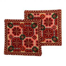 Pair of handmade Tea coasters with multi-colored cross